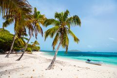 Idyllic beach at Caribbean. Idyllic tropical beach with white sand, palm trees and turquoise Caribbean sea water on exotic island at Tobago cays in St Vincent stock photo