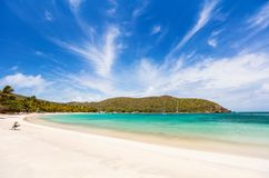 Idyllic beach at Caribbean. Idyllic tropical beach with white sand, palm trees and turquoise Caribbean sea water on Mayreau island in St Vincent and the royalty free stock photography
