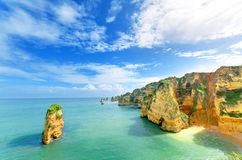 Idyllic beach landscape at Lagos, (Portugal) Stock Photography
