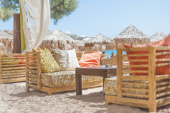 Idyllic beach restaurant stock photography
