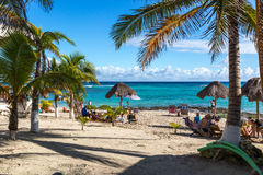 Idyllic beach in Tulum area in Mexico Royalty Free Stock Images