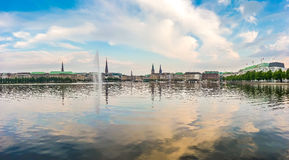 Idyllic Binnenalster in golden evening light at sunset, Hamburg, Germany Stock Photo
