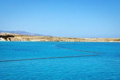 Idyllic blue lagoon landscape in Aegean Sea. stock photo
