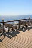 Idyllic cafe by the sea Royalty Free Stock Photos