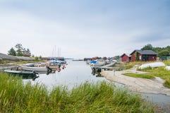 Idyllic calm harbour Löka Stockholm archipelago Royalty Free Stock Image
