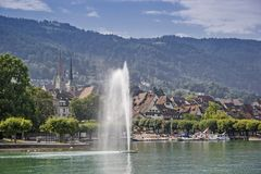 Zug at lake  Zug in Switzerland. The idyllic canton capital Zug on the lake of the same name is visited by many tourists Royalty Free Stock Images