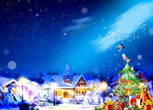 Idyllic Christmas time. House in blue winter evening moment Stock Photos