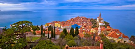 Idyllic coastal town of Piran on Adriatic sea aerial panoramic v. Iew, Slovenia Royalty Free Stock Photography