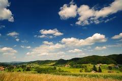 Idyllic countryside. Rural scene. Under blue sky. Croatia, Zagorje Royalty Free Stock Photos