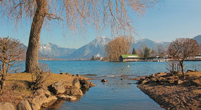 Idyllic cove bad wiessee, lake tegernsee Royalty Free Stock Images