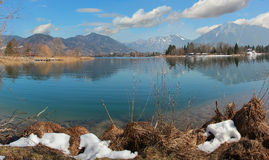 Idyllic cove at lake tegernsee, early springtime Royalty Free Stock Photos