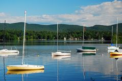 An Idyllic day on the Lake. In the Berkshire Mountains, Massachusetts stock photo