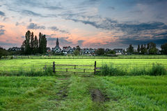 Idyllic dutch village of Marken at sunrise Stock Images