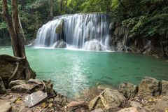 Idyllic Erawan waterfall level 1 Stock Photo