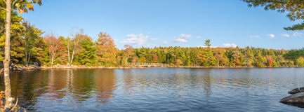 Idyllic fall foliage scene with reflections on lake Stock Photography