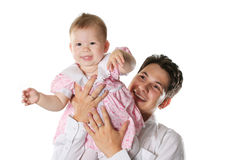 Idyllic family. The loving young father with a small daughter Stock Image