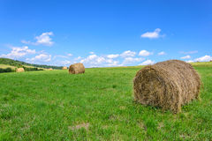 Idyllic farm field. With hay bales on the blue sky background Stock Photography