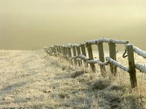 Idyllic fence on a misty field at sunrise Royalty Free Stock Images