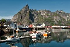 Idyllic fishing village at Lofoten stock images