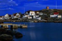 Idyllic fishing village on the Swedish west-coast at night. Stock Image