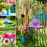 Idyllic garden collage Royalty Free Stock Photography