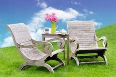 Idyllic garden seating Stock Photo