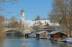Idyllic gmund village at lake tegernsee in winter Stock Images