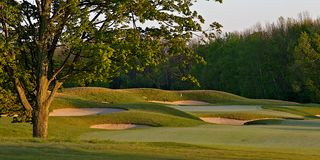 Idyllic Golf Course Hole Scene Royalty Free Stock Photo