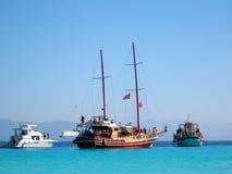 Idyllic Greece, Anti-Paxos, Greece. Boats off Anti-Paxos island, Greece Royalty Free Stock Photos