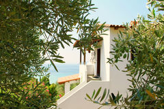 Idyllic Greek house, villa, by the sea , between olive trees, Greece, holiday, Sithonia, vacation, panoramic view Stock Photos