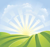 Idyllic Green Fields With Sunshine Rays Stock Images
