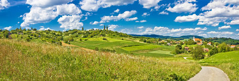 Idyllic green landscape and village Royalty Free Stock Images