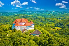 Idyllic green landscape of Zagorje region with Veliki Tabor cast. Le, northern Croatia stock image