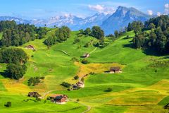 Idyllic green meadows and Alps mountains landscape, Switzerland stock images