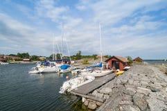 Idyllic harbour Löka Stockholm archipelago Royalty Free Stock Photos