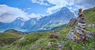 Idyllic hiking area mannlichen mountain with view to eiger north stock photo