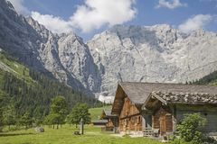 Alpine huts in the Eng in Tyrol. Idyllic huts on the alpine pastures of Eng in the heart of the Karwendel mountains in Tirol royalty free stock photography