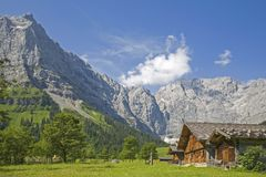 Alpine huts in the Eng in Tyrol. Idyllic huts on the alpine pastures of Eng in the heart of the Karwendel mountains in Tirol stock images