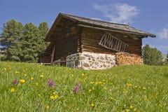 Idyllic huts in Val Gardena Royalty Free Stock Photos