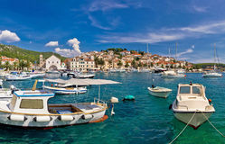 Idyllic Hvar harbor waterfrontview Stock Photos