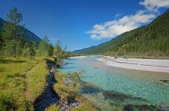Idyllic isar river in the bavarian wilderness Stock Photo