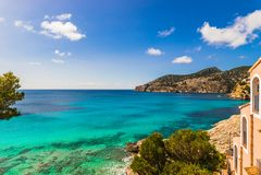 Spain Mallorca, sea view at bay of Camp de Mar. Idyllic island scenery on Mallorca, sea view of bay in Camp de Mar, Spain Balearic islands Royalty Free Stock Photography
