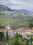 Idyllic Italian landscape, the old town in the mountains above lake Garda Royalty Free Stock Photography