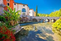 Idyllic Italian village of Borghetto on Mincio river view. Veneto region of Italy Stock Image