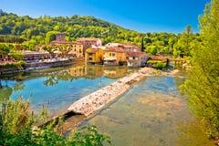 Idyllic Italian village of Borghetto on Mincio river view. Veneto region of Italy Royalty Free Stock Images