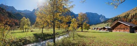 Idyllic karwendel valley in autumn, alpine hut eng alm, austria. Idyllic karwendel valley in autumn, alpine hut eng alm, golden october austria royalty free stock photo