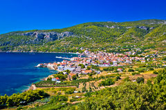 Idyllic Komiza bay summer view. Island of Vis, Croatia royalty free stock photos