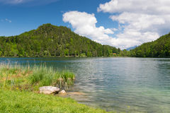 Idyllic lake alatsee with green meadow Royalty Free Stock Photography