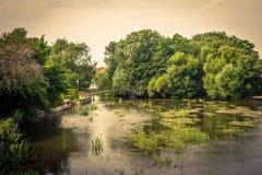 Idyllic lake with a bridge Stock Photography