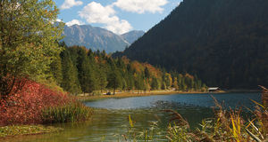 Idyllic lake ferchensee in autumn Royalty Free Stock Images